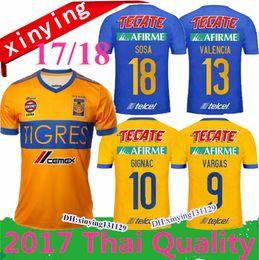 Wholesale Mexico Green Soccer Jersey - size: S-XXL 2017 2018 Tigres UANL home soccer jersey GIGNAC GUERRON 17 18 Mexico CHICHARITO R.MARQUEZ G. DOS SANTOS away football Shirt