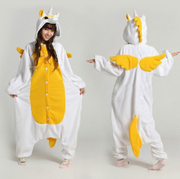 Wholesale Adult Cotton Candy Costume - 2016 Cartoon Golden Candy Unicorn Kigurums Pajamas Winter Adult Yellow Unicorn Onesie Fleece Cosplay Costume Halloween Clothes