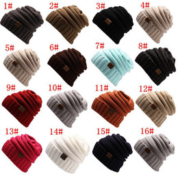 Wholesale Hat Folding - 1pcs Unisex CC Trendy Hats Winter Knitted Beanie Label Winter Knitted Wool Cap Unisex Folds Casual CC Beanies Hat Solid Hat F21