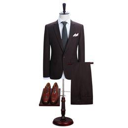 Wholesale Slim Fit Work Suit - Wholesale- DAROuomo Men's New Work Slim Fit One Button Suits Jacket and Pants Men Blazer (DR8158-A6#)