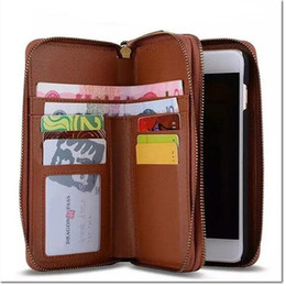 Wholesale Phone Case Wallet For Men - Brand Double Zipper Men Wallets with Phone Bag Vintage pu Leather Clutch Wallet Male Purses Large Capacity Men's Wallets