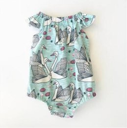 Wholesale Summer Romper Cartoon - INS Cartoon Swan Baby Onesies Newborn Baby Girl Summer Rompers 2017 Baby Girl Clothes Newborn Romper Jumpsuit Toddler Infant Clothes 437