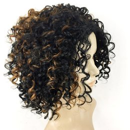 Wholesale Super Cheap Ombre Hair - for black woman synthetic ombre kinky curly hair no lace front ladies hair cap 2H30 super qualtity cheap price 1pieces lot