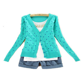 Wholesale Heart Sweater Cardigan - Wholesale- Best Price New Fashion Women Coat Small Love Heart Sweater Plus Cardigan Knitted Coat Tops 1562