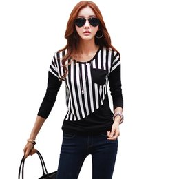 Wholesale Striped Pocket Shirt - Wholesale- New Fashion Women Striped T Shirt Patchwork Chest Pocket Long Sleeve Casual Basic Tops Tee Poleras de Mujer White Black