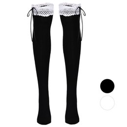 Wholesale Thigh High Socks Sales - Wholesale-Fashion womens thigh high socks white Lace High Tube Socks Over Knee socks Calcetines sale