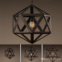 Wholesale 24 bulb - RH Lighting Restoration Hardware Vintage Pendant Lamp RH Loft Pendant Lights Diamond Steel Polyhedron Pendant Lamp Bar Living room E27 Bulb