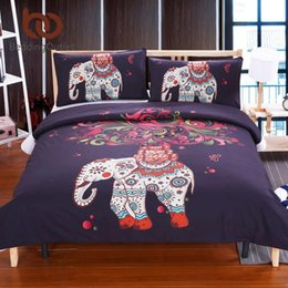 Wholesale Duvet Cover Elephant - Wholesale- BeddingOutlet Boho Bedding Elephant Tree Black Printed Bohemia Duvet Cover Set Bedspread Twin Full Queen King Cal-King Factory