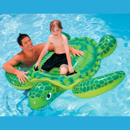 Wholesale Intex Pools - Wholesale- Intex Sea Turtle Ride On Swimming Pool Float Raft Toy Inflatable Beach Toy Gift with Air Pump 500cc