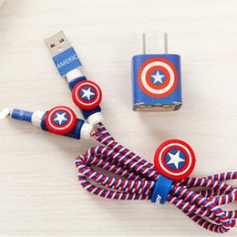 Wholesale Diy Earphones - Cartoon USB Cable Protector Cables Organizer Winder Charger Stickers Spiral Cord Protector Sticker Cover For Cable Earphone DIY Decoration