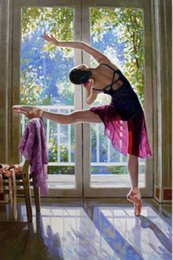 Wholesale Young Girl Oil Paint - Framed Handpainted Art Oil Painting On Thick Canvas,nice Chinese young ballet girl Do exercises in the morning Multi size Free Shipping Ab99