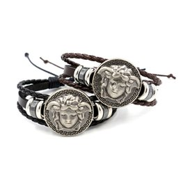 Wholesale Hip Hop Wristbands - 2017 New Fashionable Weave Leather Rope Wristband Hip Hop Punk Style Charm Bracelets Jewelry Accessories SP04