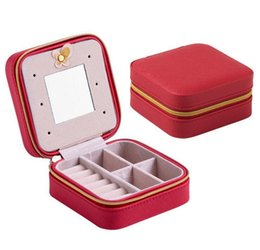 Wholesale Best Jewelry Organizers - Mini Travel portable leather jewelry box with mirror cosmetic makeup organizer earrings Casket three-tier storage box best gift