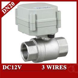 Wholesale Stainless Electric Ball Valve - 3 4'' DC12V full bore electric ball valve,DN20 Electric valve BSP NPT thread,3 wires(CR301) 12V motorized ball valve