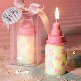 Wholesale Candles Wax Wedding Favors - 4*4*8cm Baby Bottle Candle Favors baby shower wedding favors party gifts centerpieces giveaway accessories