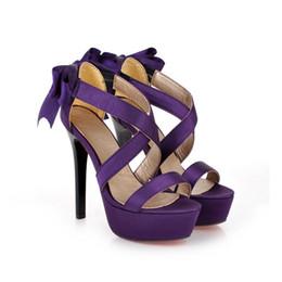 Wholesale Ladies Platform Shoes Elastic Band - Wholesale- Brand New Sexy Black Purple Super High Heels Satin Ribbons Women Glamour Platform Sandals Ladies Shoes A920-3 Plus Big size 43