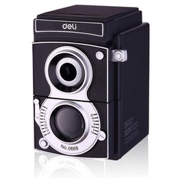 Wholesale Retro Shadow - Wholesale-Retro camera cute pencil sharpener deli 0668 Light and shadow adjustable thickness hand roll pencil sharpeners free shipping