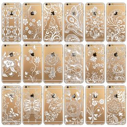 Wholesale Iphone Clear Back Housing - Phone Cases for iPhone 6 New Arrival Luxury Silicon Clear Vintage White Paisley Flower soft Housing Back Cover