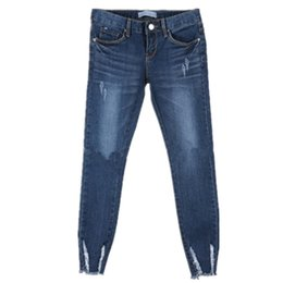 Wholesale Female Catch - Wholesale- New 2016 burr hole pattern caught pencil pants female fashion skinny jeans stretch thin plus size ripped women jeans denim pan