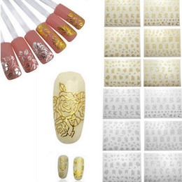 Wholesale Silver Gold Stickers - 12 Sheets Flower 3D Decals Stickers Nail Art Tip DIY Decor Manicure Gold Silver Design For Women JCA0029