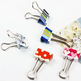 Wholesale Small Wood Clip - 24PCS Small Size Fresh Style Printed Metal Binder Clips Paper Clip Office School Binding Supplies Color Random