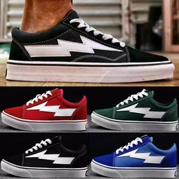 Wholesale Light Up Skateboards - (with box) Revenge X Storm old skool Classic black white red blue green light men and women Casual Shoes sneakers skateboard shoes size36-44