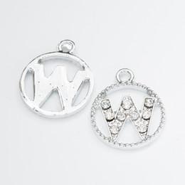 Wholesale Letter K Pendant - Wholesale 40pcs letter W crystal Alloy accessories White k jewelry pendants charms for bracelet necklace DIY jewelry making js065