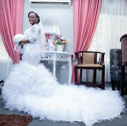 Wholesale Mermaid Pleat Long Cathedral - Nigerian African 2017 Mermaid Lace Plus Size Wedding Dresses Long Sleeve Appliques Sequined Ruffle Trains Bridal Wedding Gowns