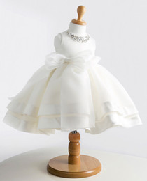 Wholesale Diamonds Bow For Dresses - White Elegant Flower Girls Dresses for Wedding Baby Princess Girl Dress Lace Crystal Bow Birthday Dress with Diamonds