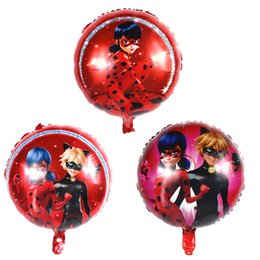 Wholesale green foil balloons - 50Pcs lot New 18 inch Miraculous Ladybug Foil Helium Balloons Birthday Party Decoration Film Hero Balls Baby Children's Toys Gifts