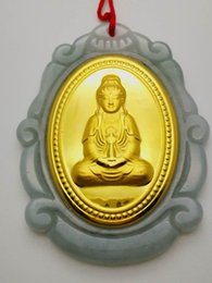 Wholesale Jade Buddha Pendants For Men - Free shipping Antar Guanyin Kwan-yin Bodhisattva Buddha Statue necklace pendant For Men or Women Fit for most people AU4852