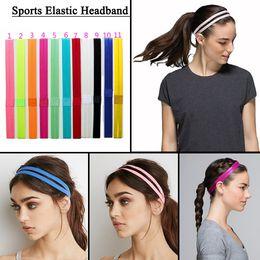 Wholesale Silicone Hair Scrunchies - 2017 Yoga Headbands Double Elastic Headband Softball Anti-slip Silicone Rubber Hair Bands Bandage On Head For Hair Scrunchy