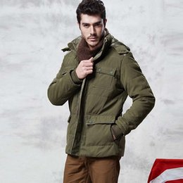 Wholesale green parkas for men - Wholesale- Men's Parka Asian Size M-XXXL Casual Winter Cotton Padded Coat for Men Green Khaki and Brown Color Winter Jacket 115