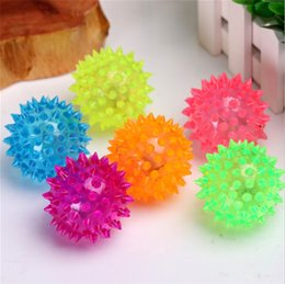 Wholesale Pet Toy Rubber Ball - Dog Puppy Cat Pet LED Squeaky Rubber Chewing Bell Ball Hedgehog Fun Toys 7KHX
