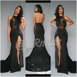 Wholesale Split Open Prom Dresses - Open Back Sexy Black Prom Dresses 2017 High-Thing Split with Vintage Lace Halter Evening Dresses Formal Red Carpet Gowns Custom BA5106