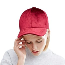 Wholesale Velvet Balls - New Women Velvet Baseball Cap Mens Casquette Bone cap Fashion Snapback Sport cap Hip Hop Flat Hat Women Gorras