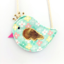 Wholesale Handmade Crown Baby - Wholesale- Gold Crown Bird Children Coin Purse Cute Baby Girls Colorful Messenger Bag Handmade Cotton Fabric Bag for Kids Gift for Childr