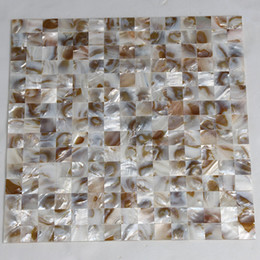Wholesale Mosaic Mesh - [FREE SHIPPING] 20x20mm natural color mother of pearl shell mosaic , seamless tile, mesh backer, fresh water shell tile ( MS121)