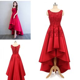Wholesale Graduation Homecoming Dresses - 2018 Latest In Stock High-Low Prom Dresses Red Lace Beaded Satin Evening Party Dresses Special Occasion Dresses