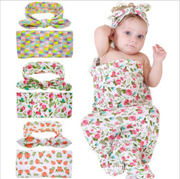 Wholesale set bands - Europe Hot-sale Newborn Baby Swaddle Blankets Headband Set With Bunny Ear Headbands Swaddle Wrap Cloth with Floral Pattern Head bands BHB04