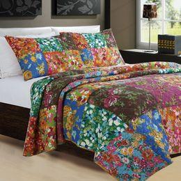 2019 patchwork quilt bettdecken 100% Baumwolle Farbe Blume Voll Königin Handarbeit Patchwork Quilt Kissenbezug Tagesdecke Bettwäsche Set Supplies JF005 günstig patchwork quilt bettdecken