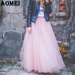 Wholesale Girls Maxi Skirts - 2017 Girls Lolita Tulle Skirt 7 Layers with Bowtie Spring Summer Maxi Long Tutu Jupe Skirts for Women Plus Size 4XL