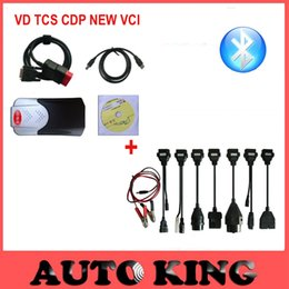 Wholesale Cdp 3in1 - Wholesale- Hot sale! new model VD tcs cdp pro LED 3in1 with bluetooth + full set 8pcs car cables for cars trucks obd2 diagnostic ship free