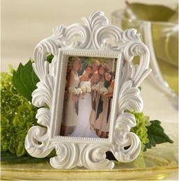 Belas 400 pçs / lote Branco barroco photo frame casamento titular do cartão quadros de imagem de