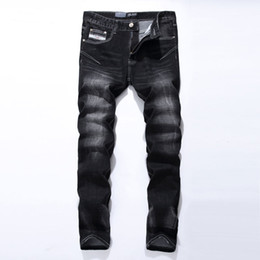 Wholesale Men Jeans China - Wholesale-Black Jeans Men Asian Size:29-40 Casual Mens Jeans Trousers Regular Straight Denim China Brand Jeans Pants 961