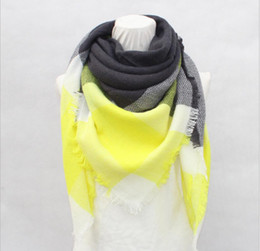 Wholesale Winter Scarf Free Shipping - Winter brand cashmere scarf ladies plaid and scarf shawl drop shipping