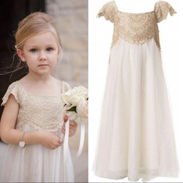 Wholesale T Shirt Dresses For Cheap - 2017 Vintage Flower Girl Dresses for Bohemia Wedding Cheap Floor Length Cap Sleeve Empire Champagne Lace Ivory Tulle First Communion Dresses