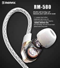 Wholesale High End Hifi Wholesaler - High End Remax RM-580 Dual Moving Coil HIFI Earphone Noise Cancelling Armature Immersive 3D Sound Metal Headphone Wired Control Headset