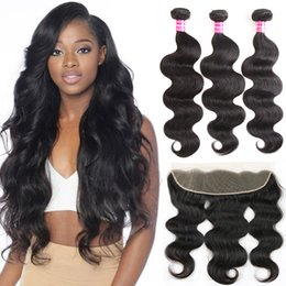 Wholesale 13x4 Body Wave Lace Frontal - Brazilian Body Wave Virgin Hair Bundles with 13x4 Lace Frontal Bundles Wet and Wavy Body Wave Lace Front Weaves Closure Unprocessed Hair 3pc