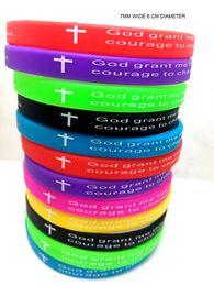 "Wholesale Party Gods - 50pcs Color 7mm Width Serenity Prayer ""GOD GRANT ME..""Bible Cross Silicone bracelets Wristbands wholesale Christian Jewelry Lots"